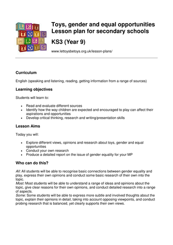 Toys, Gender and Equal Opportunities Lesson Plan for KS3