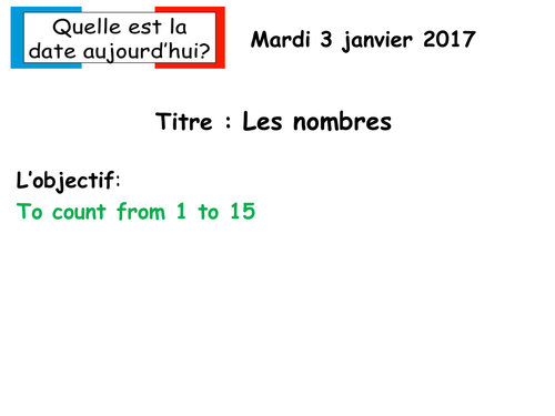 Les nombres 1-15 French KS2