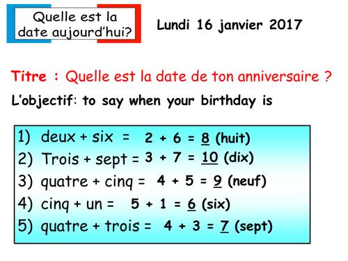 Mon anniversaire French KS2
