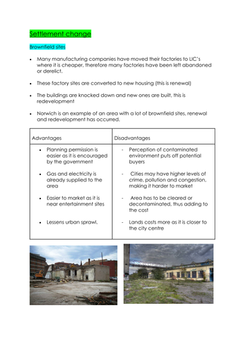 GCSE Human Geography - SETTLEMENT AND ECONOMIC CHANGE detailed revision  NOTES