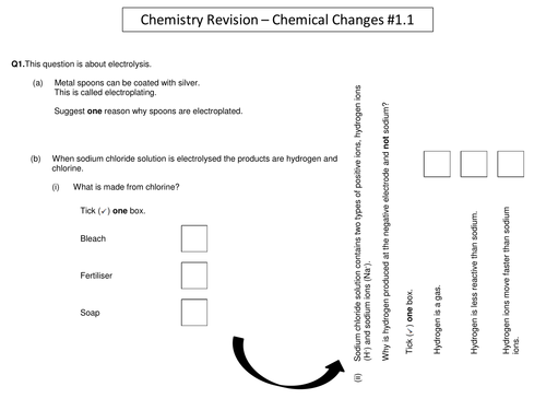 Chemical Changes Round Robin Revision Activity