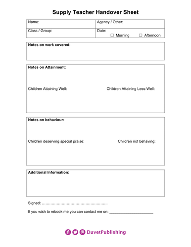 Supply Teacher Handover Sheet