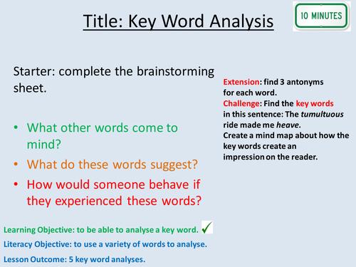 Key Word Analysis Lesson