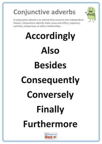 Conjunctive Adverbs Poster 2 By Resourcebox Teaching Resources Tes