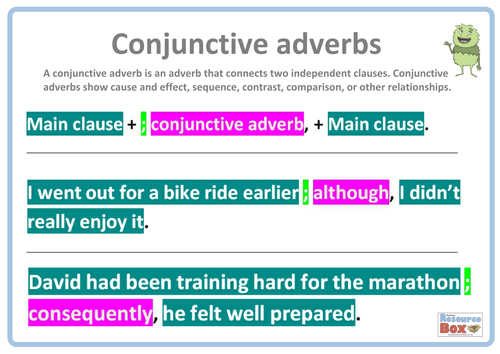Conjunctive Adverbs Sentence Examples By Resourcebox Teaching