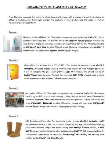 Price elasticity of demand worksheets