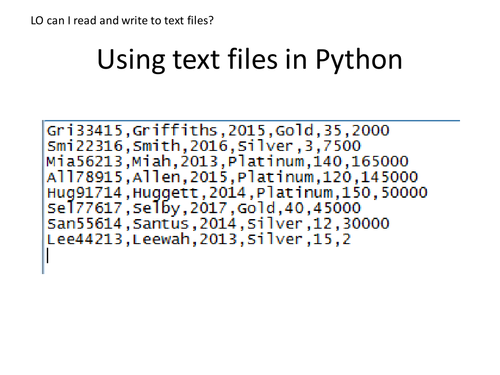 two lessons on Python and CSV files, handy for Edexcel NEA