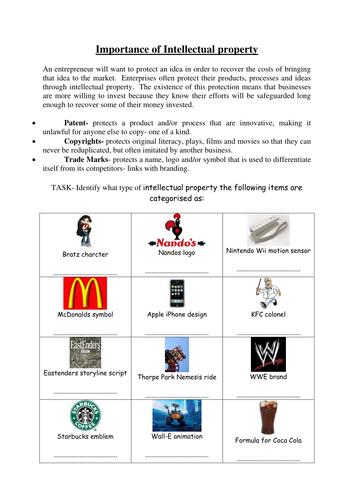 Intellectual property worksheet