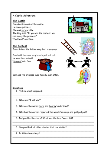 Simple fairy-tale comprehension for children who struggle with reading.