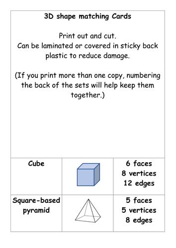 3D shape matching cards