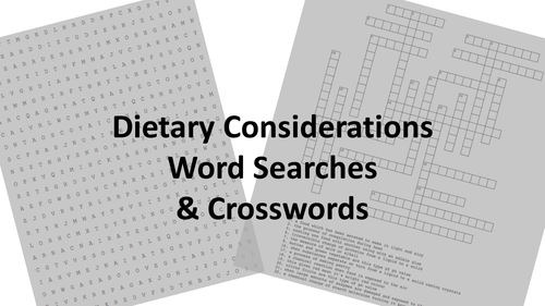 WJEC GCSE KS4 Food & Nutrition: Dietary Considerations *ACTIVITIES ONLY*