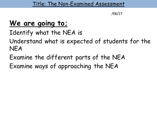 1. Introduction to the NEA [A-Level Non-Examined Assessment (NEA)]