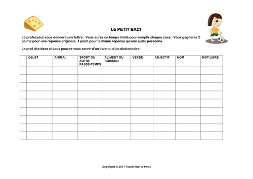 Le petit bac / scategories French template