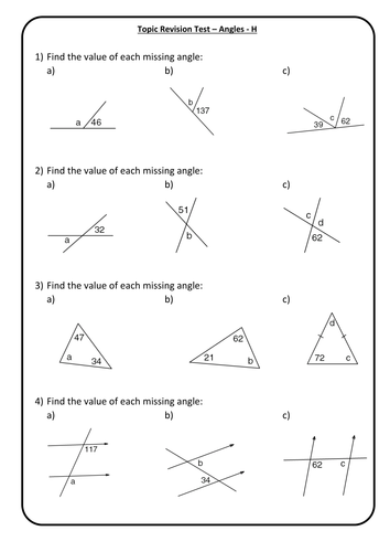 Angles - End of Topic Mini Test/Marking Grid - Higher Test 1 + Answers