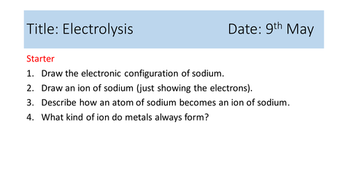 Electrolysis of Ionic Compounds: AQA 9-1