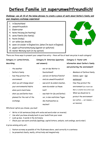 KS3/4 German: Writing about an Exchange and the Environment (includes verb guide!)