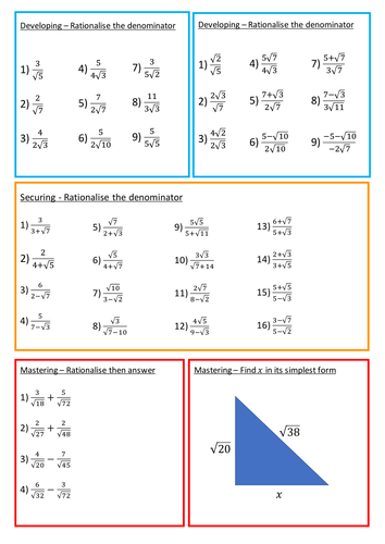 Rationalising the Denominator Worksheet