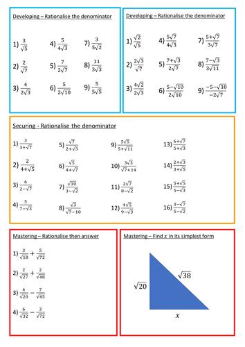 Rationalising The Denominator Worksheet By Brodieburton Teaching