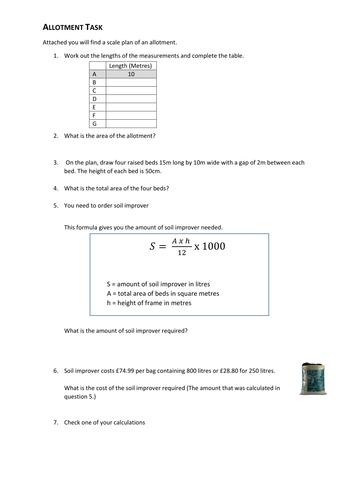 FS Maths L1/L2 - Allotment Task