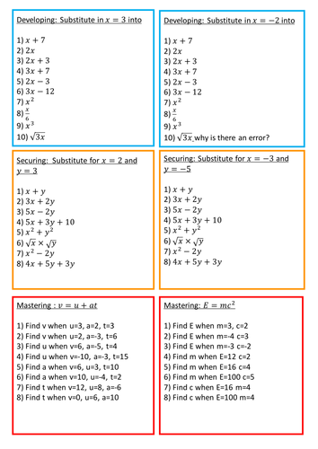 Substitution Worksheet