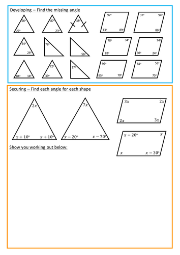 Angles in Triangles and Quadrilaterals
