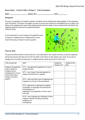 AQA 9-1 Biology Required Practical Worksheets