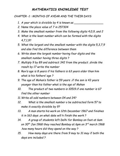 mathematics knowledge test