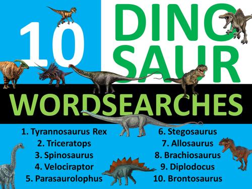 10 Dinosaur Wordsearches Keyword Starters Wordsearch Homework Cover Plenary Lesson Dinosaurs