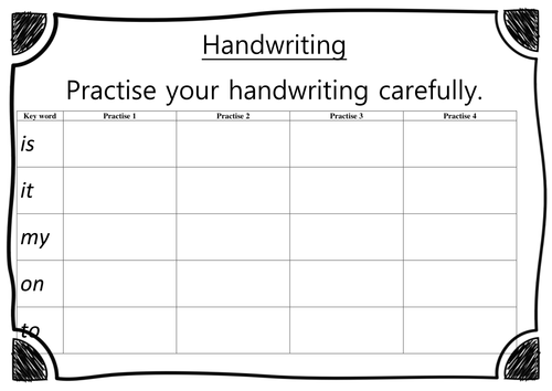 EYFS - Reception - Handwriting Worksheet - List 2 - Pack 1