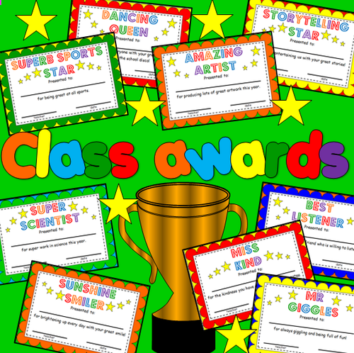 End of the Year class award certificates