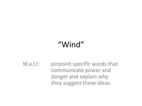 "KS3, ""Wind"", Ted Hughes, Poetry, Analysis, PEE, Language, KS4, Unseen Poetry, English Literature"
