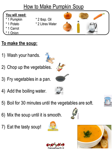 Pumpkin Soup Instruction Writing