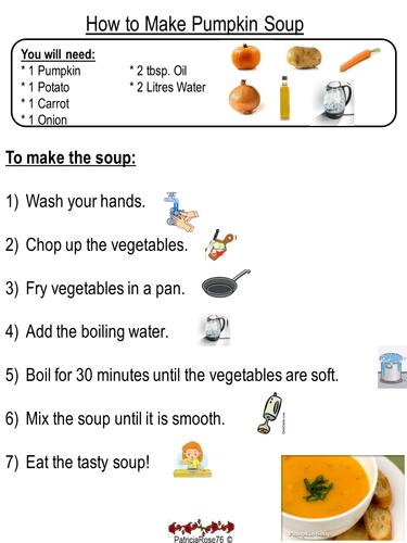 Pumpkin Soup Instruction Writing