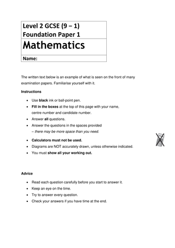Paper 1 Mathematics papers for Foundation & Higher