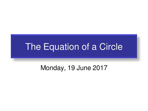 Circle Centre (0,0) radius r