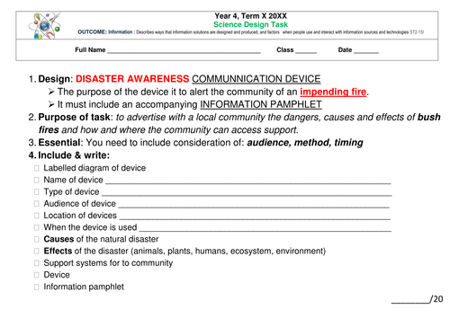 Science - Design Task - Natural Disastes & Communication