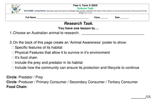 Science Task: Research Activity - Animal Protection