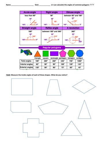 Math: Angles - Measuring angles - polygons