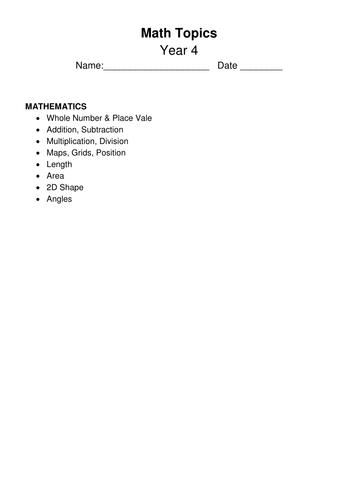 Math Topic Quiz / Activities