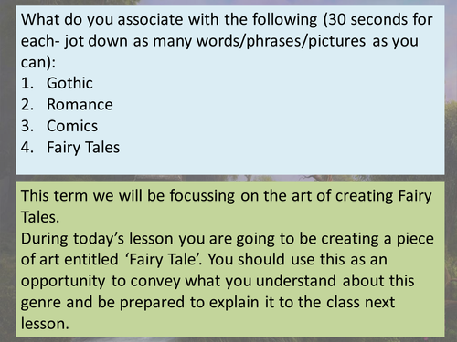 Grimms fairy tales SOW Creative writing