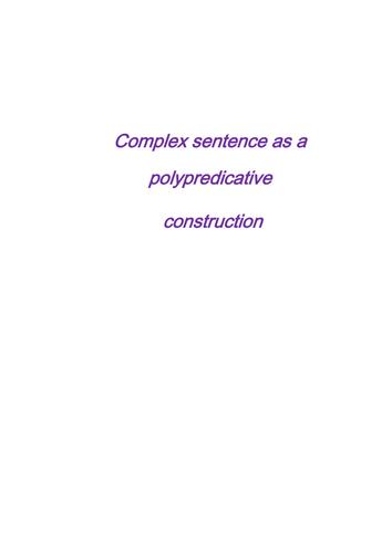 Complex sentence as a polypredicative construction
