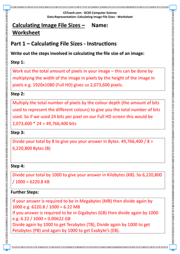 Gcse Computer Science Calculating Image File Sizes Worksheet By