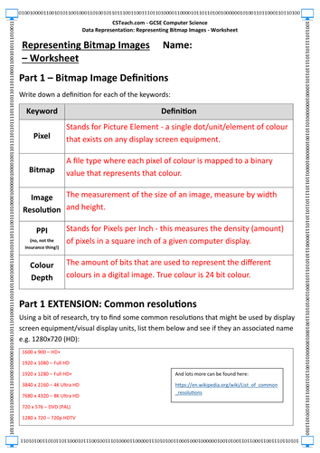 GCSE Computer Science - Data Representation: Representing Bitmap Images - Worksheet