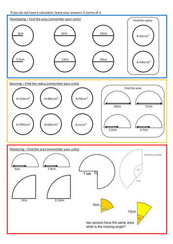 Area of Circles Worksheet with Answers