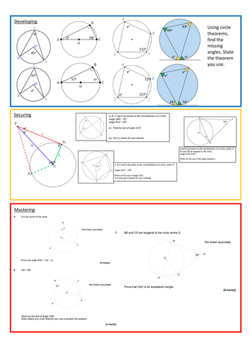 Circle Theorems Worksheet with Answers