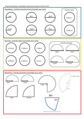 Circumference of Circles Worksheet with Answers
