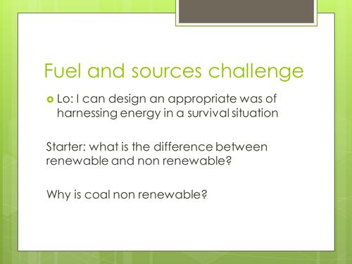 Energy resources challenge