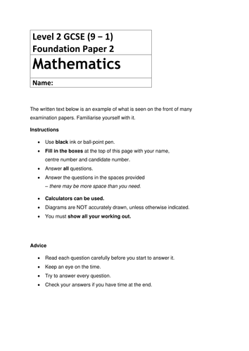 Paper 2 Mathematics Papers for Foundation & Higher