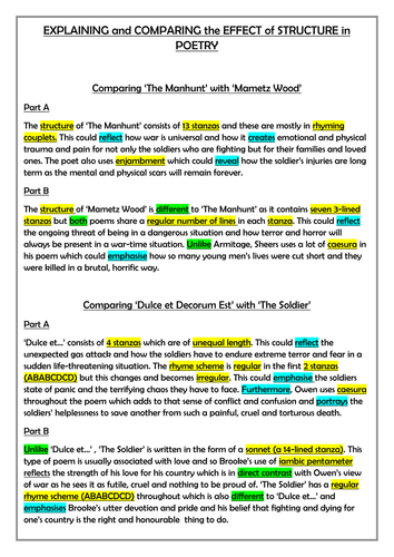 EDUQAS GCSE LIT COMPONENT 1, SECTION B, DESCRIBING THE EFFECT OF STRUCTURAL TECHNIQUES IN POETRY