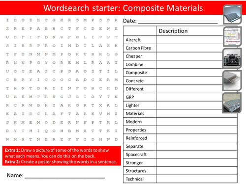 Design technology composite materials starter activities wordsearch anagrams crossword cover for Design and technology lesson plans